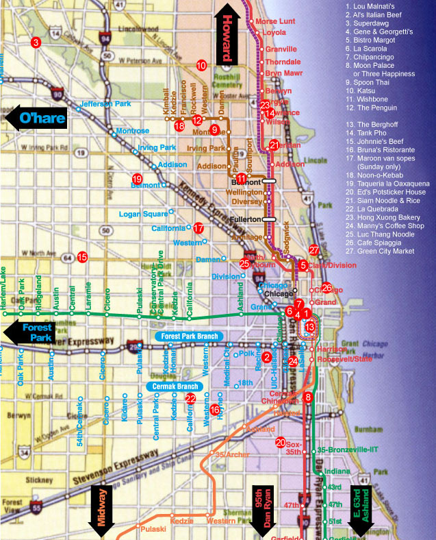 Chicago el train map on
