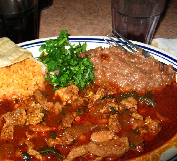 Guisado de Puerco en Chile Rojo (Pork stew in red chile sauce)